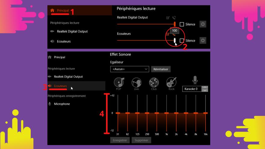 Les paramètres des ecouteurs en Realtek