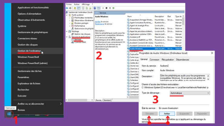 Comment ractiver les services Audio Windows